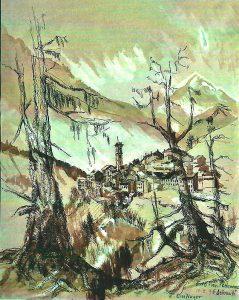 Roland Breitinger (* 1937 Ebingen) | Erto, Provinz Portenone – Dolomiti | Lavierte Federzeichnung/Sepia, bez./sign./dat. (10.03.1996)
