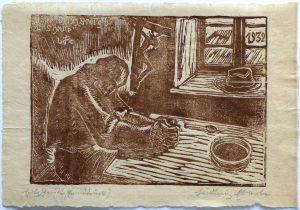 Ludwig Eberle (* 1883 Grönenbach - † 1956 Grönenbach) | Unser täglich Brot gib uns heute | Holzschnitt, bez./sign./dat. (1932)