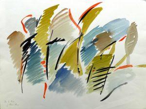 Gertrude Mendler (* 1930 Legau) | Naturmeloche | Aquarell, bez./sign./dat. (26.02.1990)