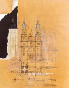 Helmut Domnik (* 1948 Immenstadt-Seifen) | St. Lorenz, Kempten | Mischtechnik/Collage, bez./sign./dat. (1991)