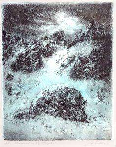 Hans Dietmann (* 1924 Immenstadt - † 2009 Immenstadt) | Winternacht im Nagelfluhgebiet | Radierung, bez./sign./dat. (1996)