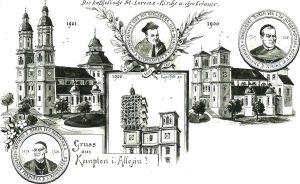 Eugen Felle (* 1869 Isny - † 1934 Isny) | L 91 St. Lorenz, Kempten | Lavierte Federzeichnung auf Bristolkarton