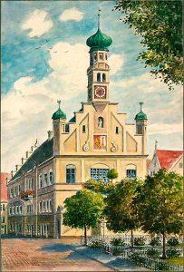 Eugen Felle (* 1869 Isny - † 1934 Isny) | L 96 Das Rathaus in Kempten | Aquarell auf Zeichenkarton