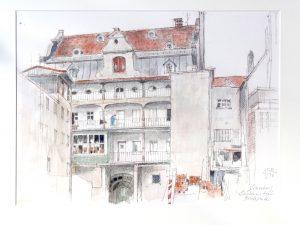 Heinz Schubert (* 1912 Zwettnitz/Teplitz-Schönau - † 2001 Kempten) | Londoner Hof (Rückseite) | Bleistift/Kreide, bez./sign./dat. (25.X.1976)